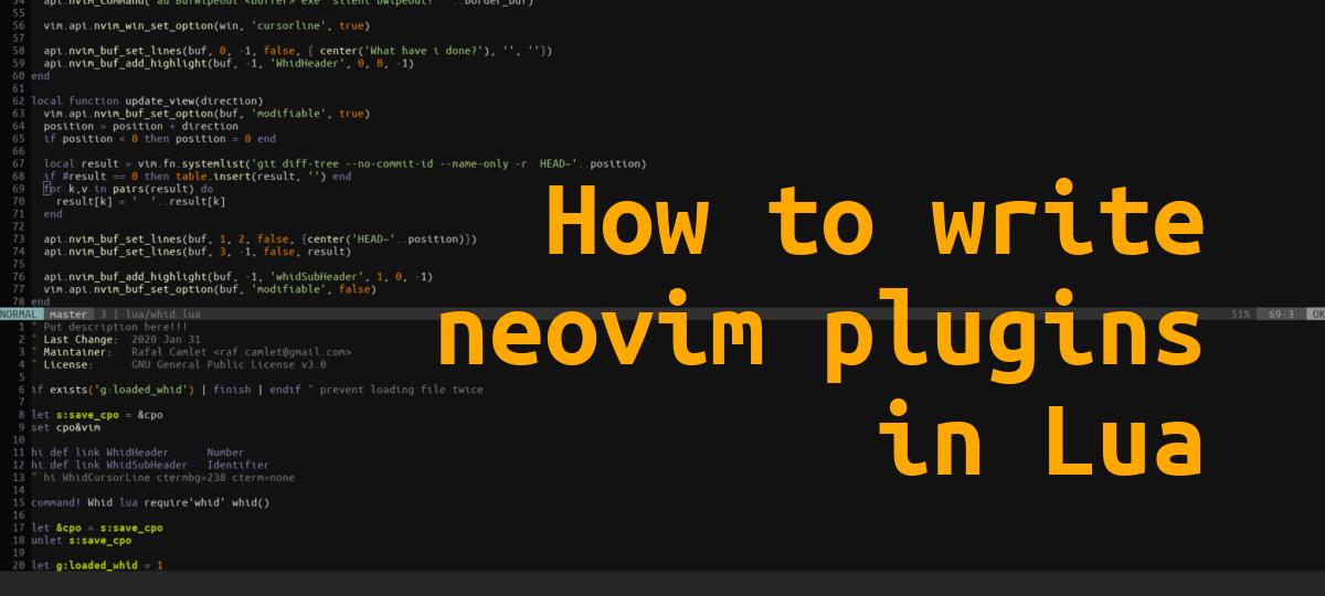How to write neovim plugins in lua